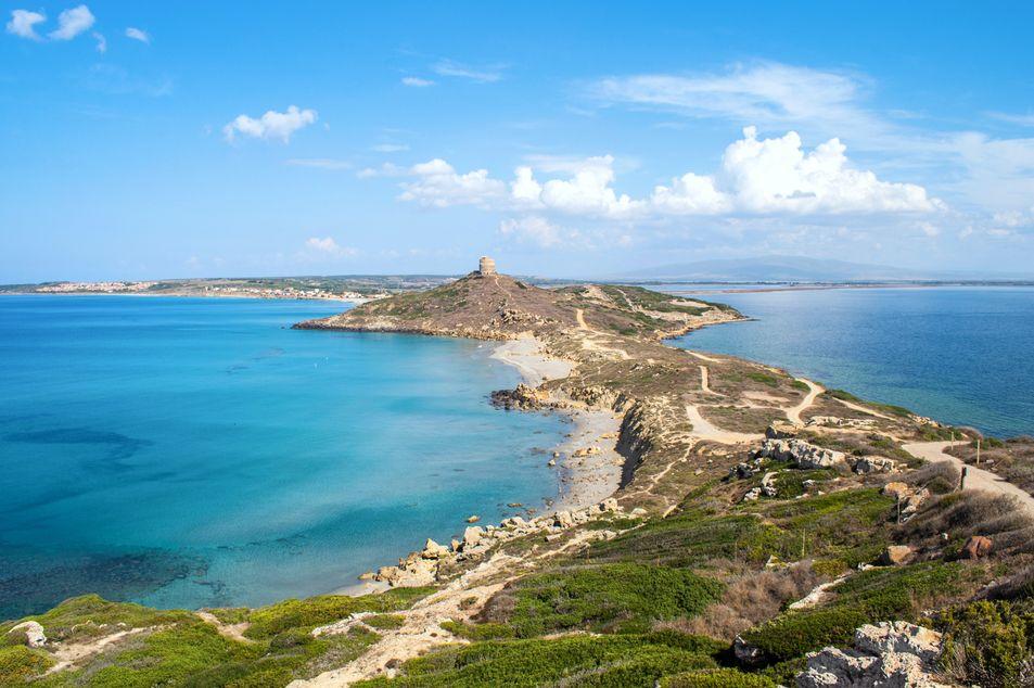 Blick auf die Halbinsel Sinis am Capo San Marco