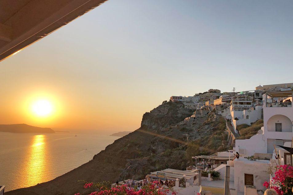 Coucher du soleil à Fira